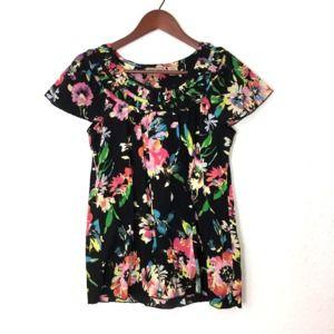 ART & SOUL Black Floral Shirt Size S